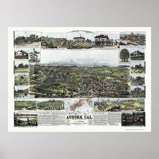 Auburn, CA Panoramic Map - 1887 Poster