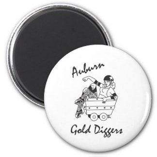 Auburn Gold Diggers Black and White Logo 2 Inch Round Magnet