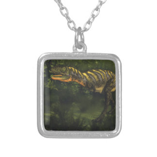 Aucasaurus dinosaur - 3D render Silver Plated Necklace