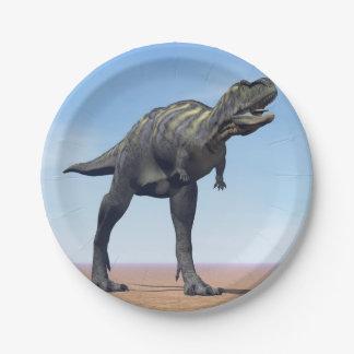 Aucasaurus dinosaur in the desert - 3D render Paper Plate