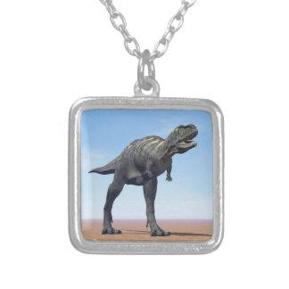 Aucasaurus dinosaur in the desert - 3D render Silver Plated Necklace
