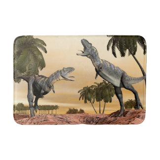 Aucasaurus dinosaurs fight - 3D render Bath Mat
