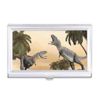 Aucasaurus dinosaurs fight - 3D render Business Card Holder