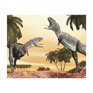 Aucasaurus dinosaurs fight - 3D render Canvas Print
