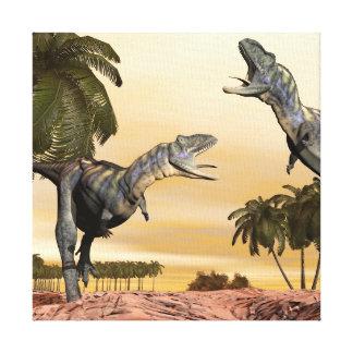 Aucasaurus dinosaurs fight - 3D render Canvas Print