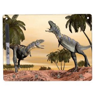Aucasaurus dinosaurs fight - 3D render Dry Erase Board With Keychain Holder