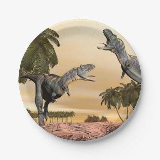 Aucasaurus dinosaurs fight - 3D render Paper Plate