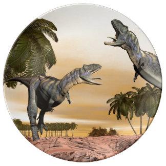 Aucasaurus dinosaurs fight - 3D render Plate