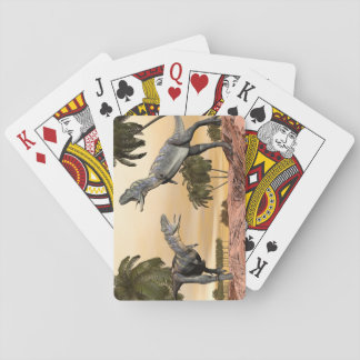 Aucasaurus dinosaurs fight - 3D render Playing Cards