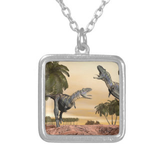 Aucasaurus dinosaurs fight - 3D render Silver Plated Necklace
