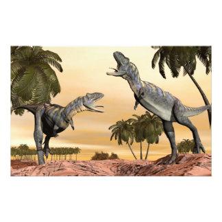 Aucasaurus dinosaurs fight - 3D render Stationery