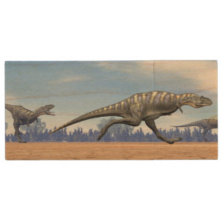 Aucasaurus dinosaurs running - 3D render Wood USB Flash Drive