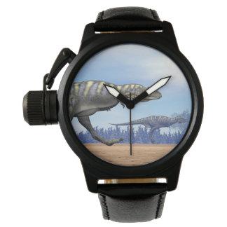 Aucasaurus dinosaurs running - 3D render Wristwatch