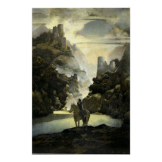 Aucassin Seeks for Nicolette by Maxfield Parrish Poster