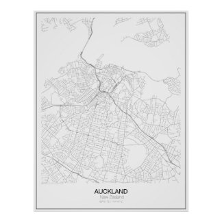 Auckland, New Zealand Minimalist Map Poster