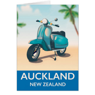 Auckland new zealand travel poster card