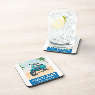 Auckland new zealand travel poster coaster