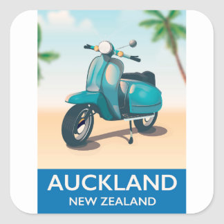 Auckland new zealand travel poster square sticker