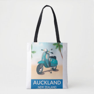 Auckland new zealand travel poster tote bag