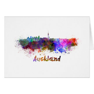 Auckland skyline in watercolor card