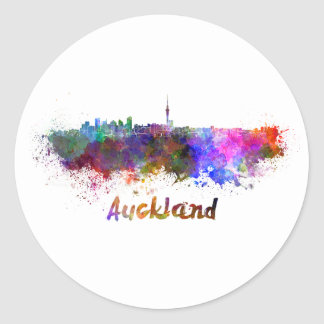 Auckland skyline in watercolor classic round sticker