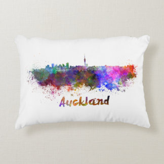 Auckland skyline in watercolor decorative pillow