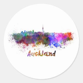 Auckland skyline in watercolor round sticker