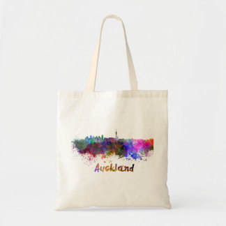 Auckland skyline in watercolor tote bag