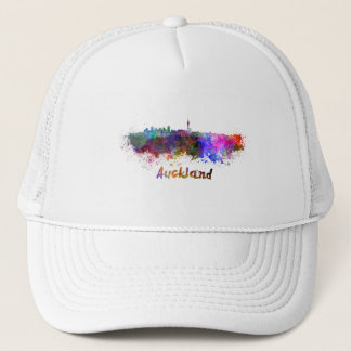 Auckland skyline in watercolor trucker hat