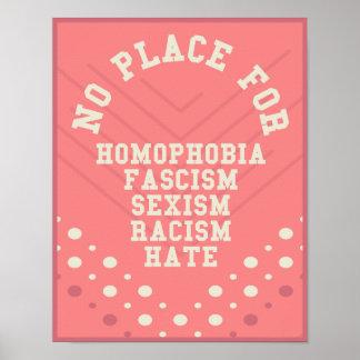 Aucun endroit pour la citation de homophobie poster