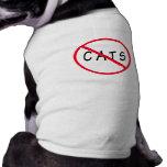 Aucuns chats ! Signe rouge de cercle Tee-shirts Pour Toutous