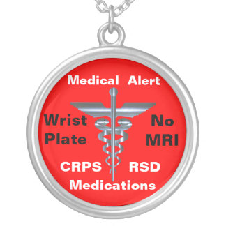 Aucuns médicaments médicaux de l'alerte CRPS/RSD d Pendentif Rond