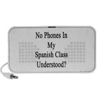 Aucuns téléphones dans ma classe espagnole compris système de haut-parleurs
