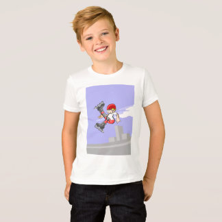Audacious skate on wheels young jumping in the air T-Shirt