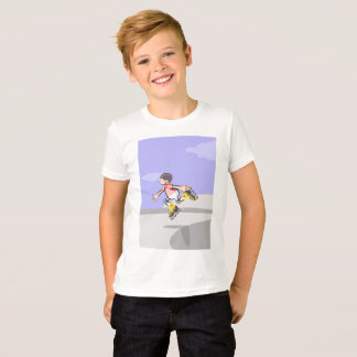 Audacious skate on wheels young jumping in the T-Shirt