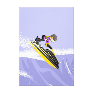 Audacious sportsman surfing a wave with its jet canvas print
