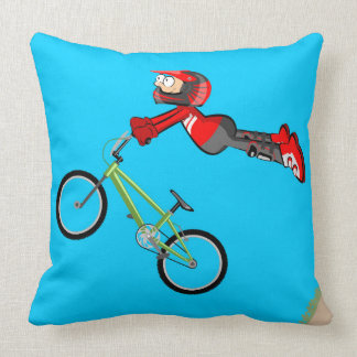 Audacious young BMX flying in its bicycle Throw Pillow