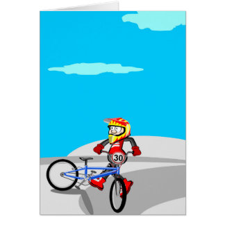 Audacious young BMX taken hold of its bicycle Card