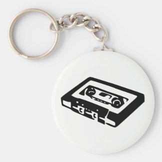 Audio Cassette Basic Round Button Keychain