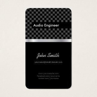 Audio Engineer - Elegant Black Silver Squares Business Card