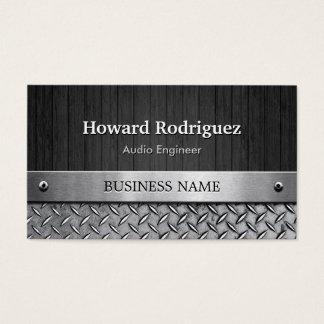 Audio Engineer - Wood and Metal Look Business Card