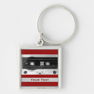 Audio Music Cassette Tape Luggage Or Laptop Tag Silver-Colored Square Keychain