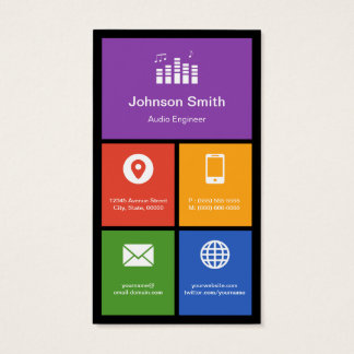 Audio Studio Company - Colorful Tiles Creative Business Card