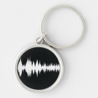 audio wave Silver-Colored round keychain
