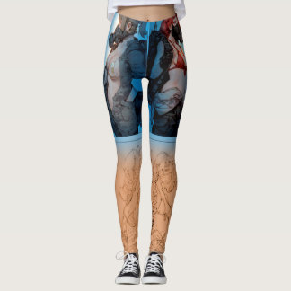 AUDIOPHILIACS.COM handpainted anime joggers blue Leggings