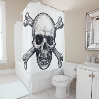 audiophiliacs.com SKULL & BONES shower curtain