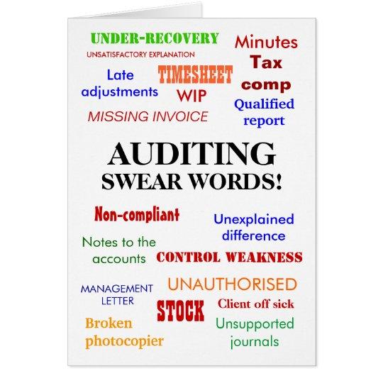 Auditor Words Joke Card - Auditing Swear Words!