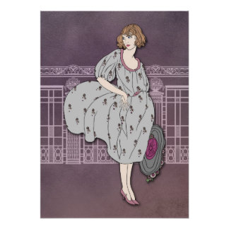 AUDREY: Art Deco Fashion in Gray and Rose Poster