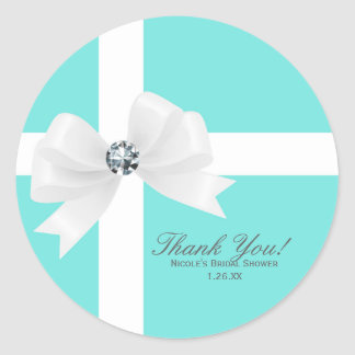 Audrey Blue Bridal Shower White Bow Diamond Favor Classic Round Sticker