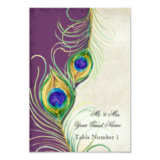 Audrey Jeanne Peacock Feather Purple Damask Escort Card